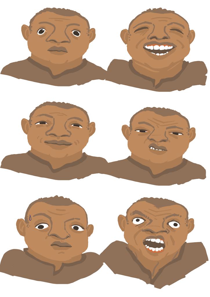 Emotions faces cartoon